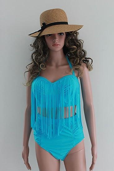1fbefb9a68326 Amazon.com  JJ-GOGO Plus Size High Waisted Fringe Bikini Sexy Tassel  Swimwear  Clothing