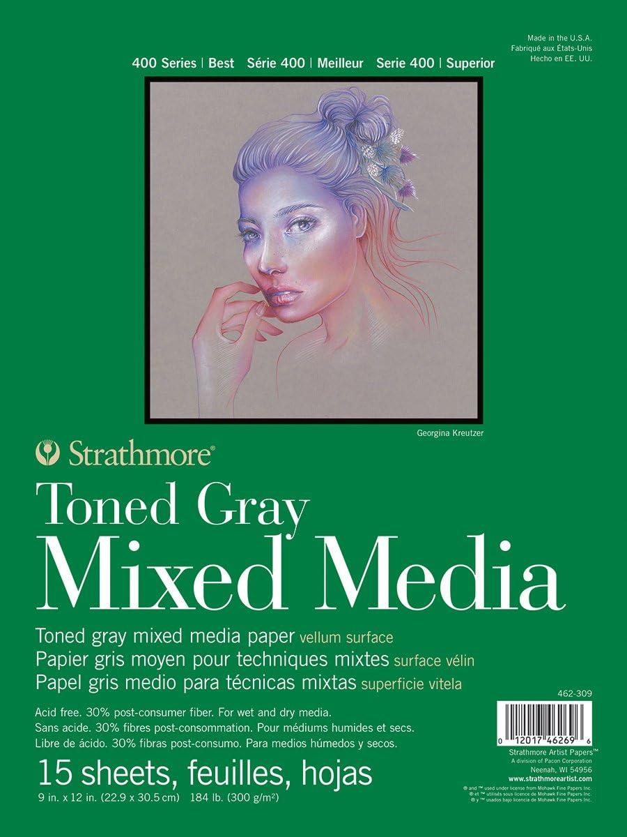 Strathmore 462-311 400 Series Toned Gray Mixed Media Pad 11x14 Glue Bound 15 Sheets per Pad