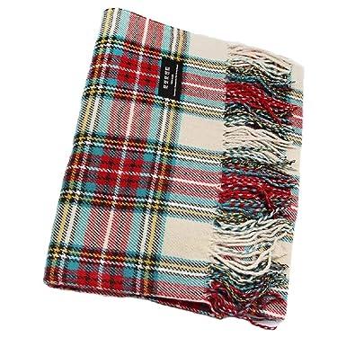 dc6e5f8b845d0 Samanthajane Femme Homme écossais Tartan Grande écharpe Pashmina Rouge bleu  - Ecru -  Amazon.fr  Vêtements et accessoires