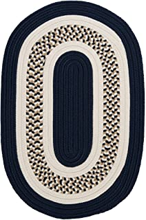 product image for Flowers Bay Oval Area Rug, 2 by 8-Feet, Navy