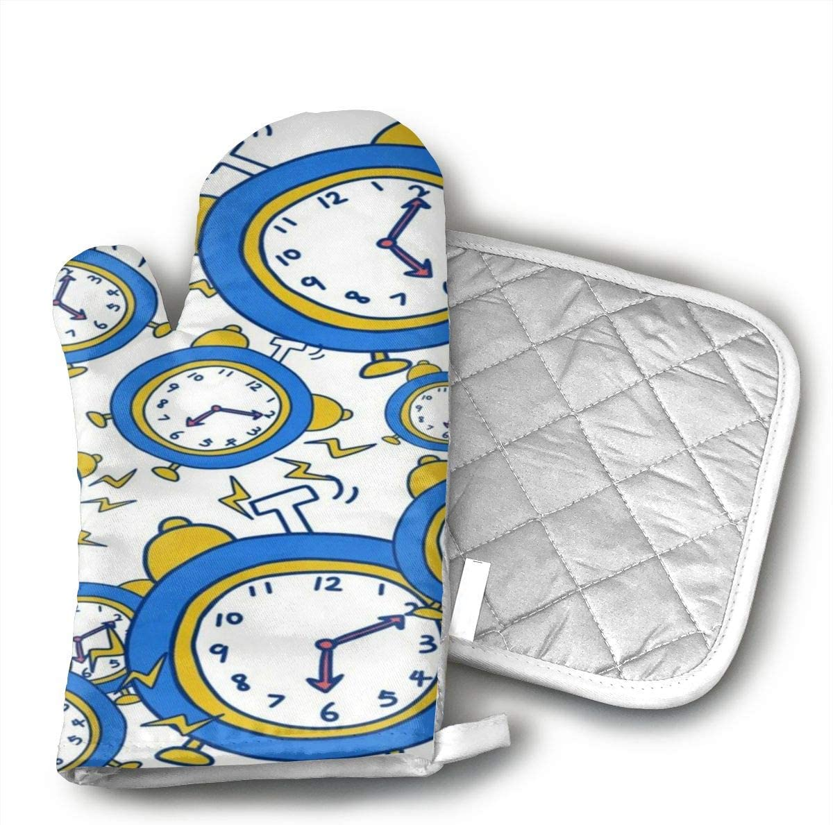 Alarm Clock Morning Oven Mitts,Heat Resistant to 502 F£¬Non Slip Kitchen Oven Gloves for Cooking,Baking,Grilling,Barbecue Potholders