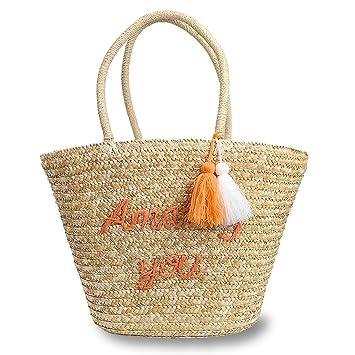 fb54dee33d9f Amazon.com: Hogoo Letter Tote Handbags for Women Woven Straw Beach ...