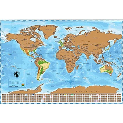 Amazon.com : Scratch Off Map of The World with US States, Countries on