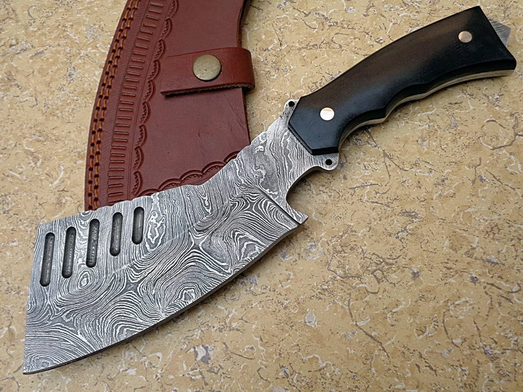 Knife King Premium Custom Damascus Handmade Hunting Chopper Knife. Comes with a Sheath.