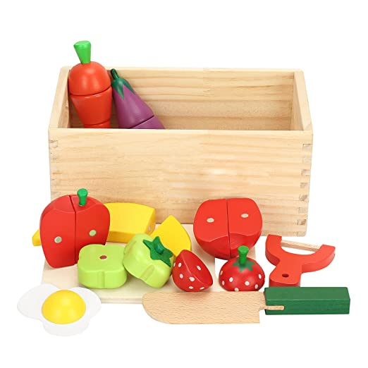 Wooden Cutting Food Set-Pretend Kitchen Toy 14PCS Magnetic Cutting Fruit Vegetable Play Toy for Kids (Style-II)