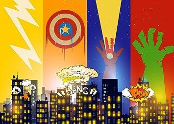 Amazon.com: Superhéroe Cityscape fotografía telón de fondo y ...