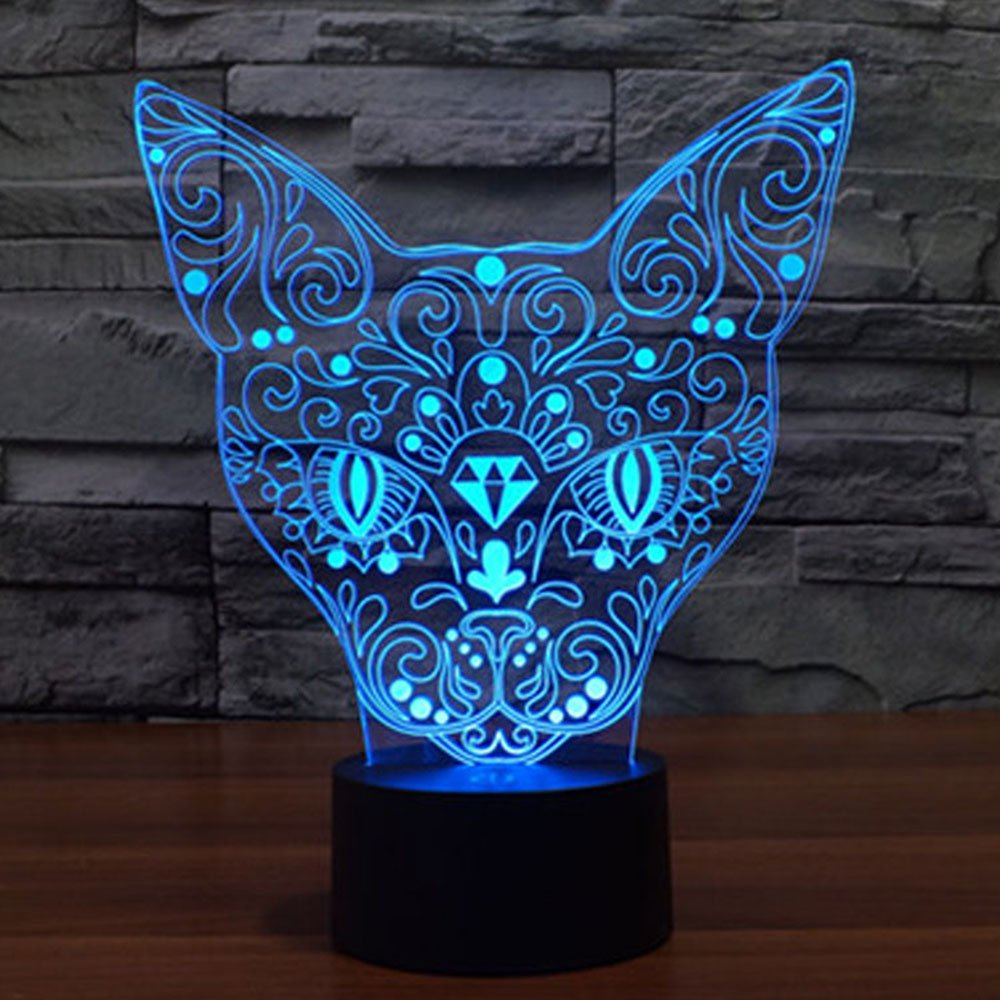 Lovely Cat 3D Illusion Lamp, Elstey 7 Color Changing Touch Table Desk LED Night Light Great Gifts