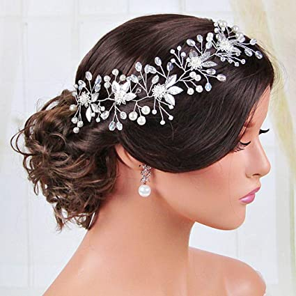 Bridal Rhinestones Pearls Crystals Hair Vine Tiara Headband Crown Hair Headpiece