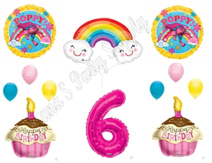 Amazon POPPY TROLLS RAINBOW 6th Happy Birthday Party Balloons Decoration Supplies Movie Everything Else