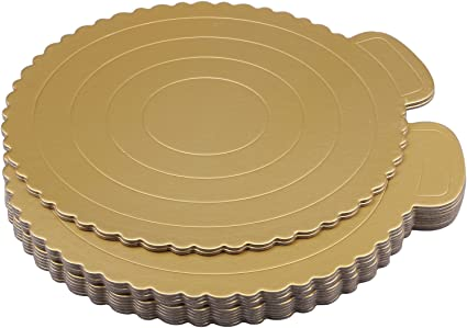 Useekoo 12 Pack Gold Cake Boards Round Gold Foil Pizza Base Disposable Drum Circles Corrugated Paper Board 11 Inches Diameter