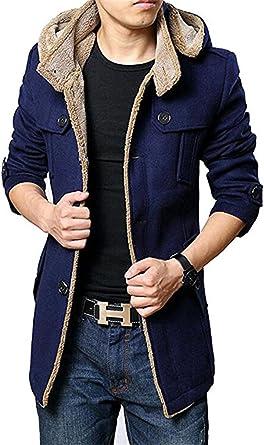 LOBTY Herren Winterjacke Männer Herren Jungen Kurzmantel Jack Anzug Casual Mantel Fleece Parka Warme Jacke Trenchcoat mit Kapuze