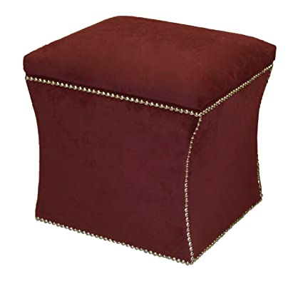 Skyline Furniture Bartlett Storage Ottoman With Brass Nailbuttons In Velvet  Berry Fabric