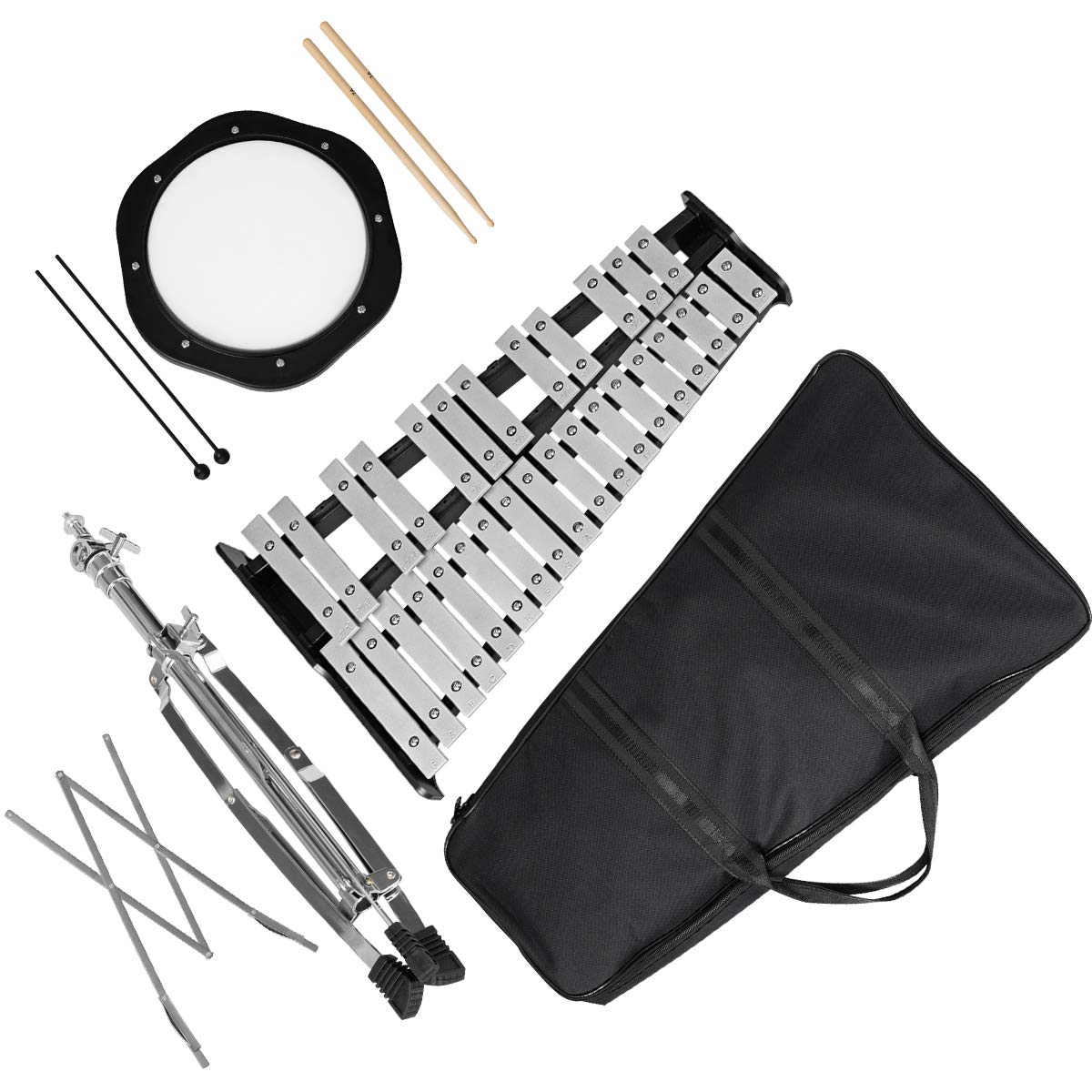 Percussion Glockenspiel Bell Kit 30 Notes w/Practice Pad +Mallets+sticks+stand by Giantex