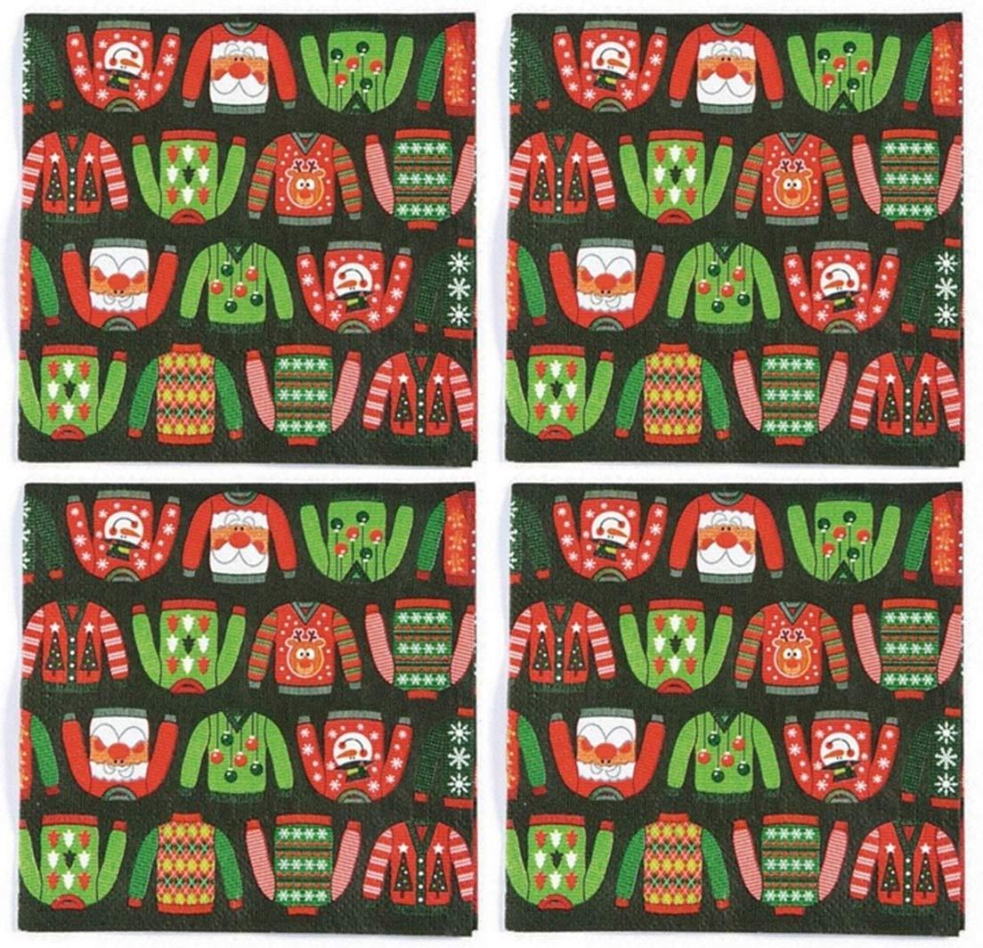 クリスマス ホリデー パーティー ペーパー アグリー セーター 飲料 ナプキン (48枚セット) B07KJYS61J