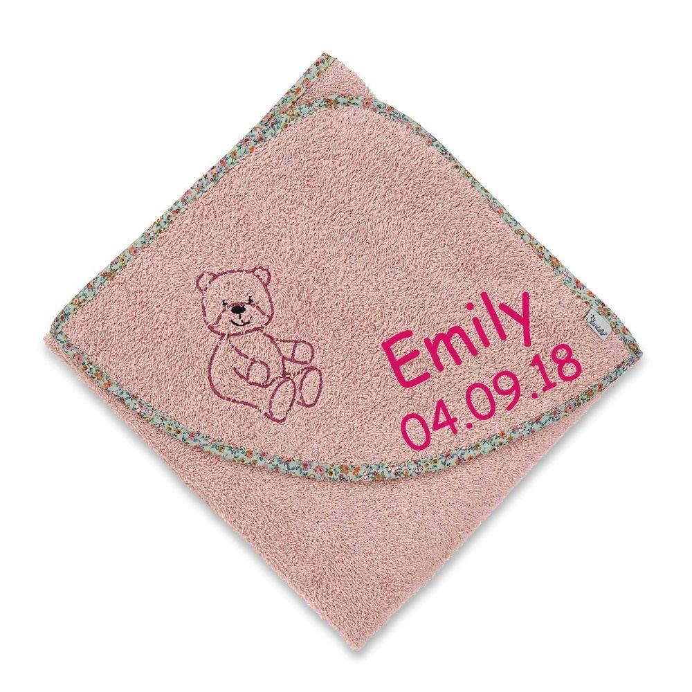 Sterntaler Kapuzenhandtuch B/är rosa mit Namen bestickt 100x100 cm Handtuch Baby Geschenk zur Geburt Badehandtuch