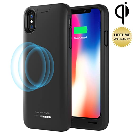 check out 5adbc e4636 Press Play iPhone Xs/X Battery Case (Apple Certified) with Qi Wireless  Charging Nero iPhone 10 Portable Charger Slim Charging Case 4200mAh  Extended ...