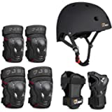 JBM 4 Sizes Extra Pads Diamond Curved Series Full Protective Gear Set Multi Sport Helmet, Knee and Elbow Pads with Wrist…