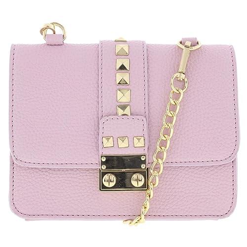 56b7490a90 BCBG Paris Womens Caviar Faux Leather Mini Crossbody Handbag Purple Small   Handbags  Amazon.com