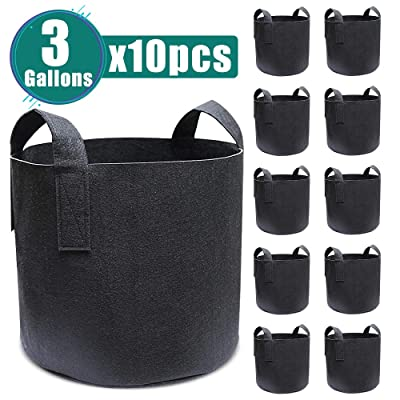 QIY store Garden Plant Bags 10 Pcs 3 Gallon Nonwoven Vegetable Grow Bags Fabric Pots with Durable Handles: Home & Kitchen