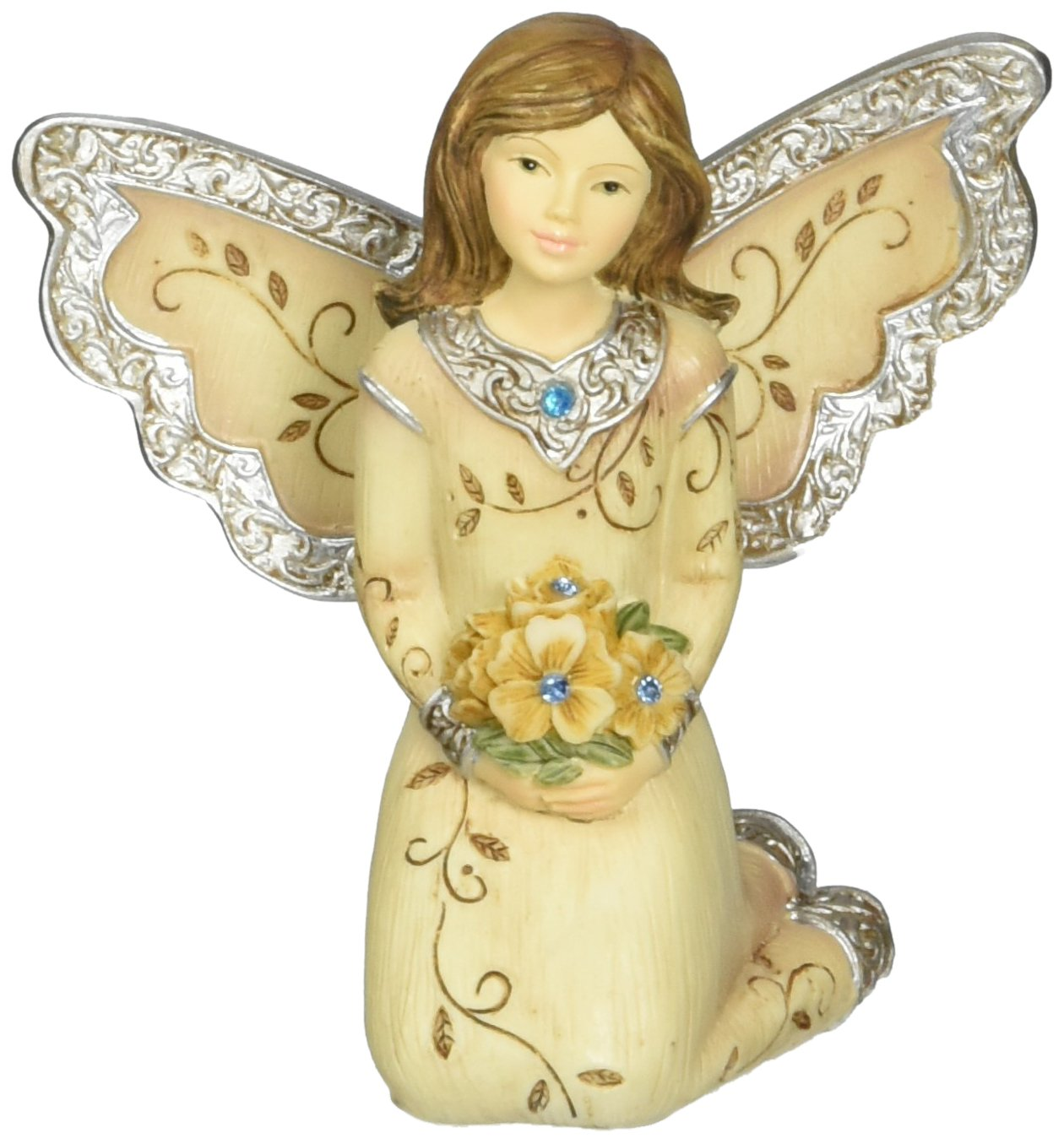 Elements March Monthly Angel Figurine, Includes Aquamarine Birthstone, 3-Inch