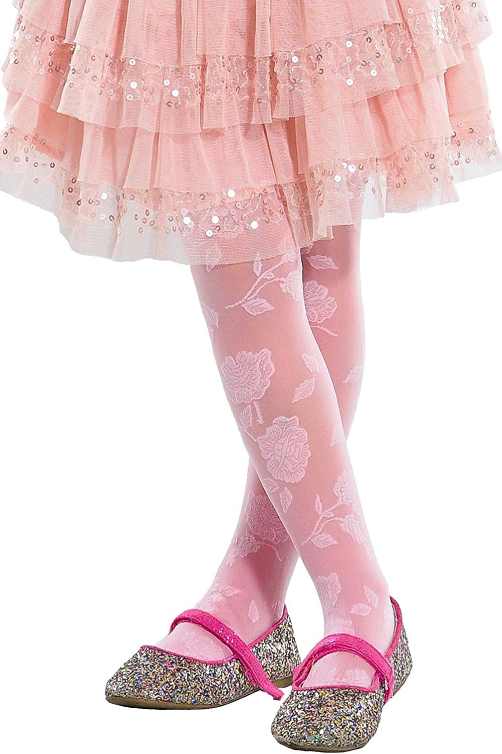 5-12 years Lady Kama Girls Patterned Tights 30 denier Rose Motive