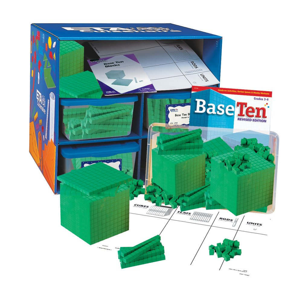 hand2mind Green Foam Base Ten Blocks, Class Set by hand2mind