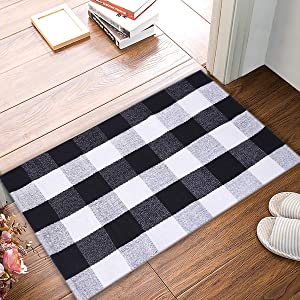 "EARTHALL Cotton BuffaloBlack and White Plaid Rugs, Hand-Woven Checkered Carpet, Washable Kitchen/Frontdoor/Living room/Laundry Room/Bathroom/Bedroom Mat(23.6""X35.4"")"