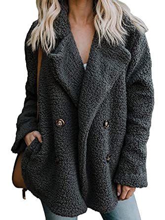 323eaaa7f CHOiES record your inspired fashion Women's Faux Shearling Shaggy Oversized  Coat Lapel Neck Long Sleeve Coat with Pockets at Amazon Women's Coats Shop