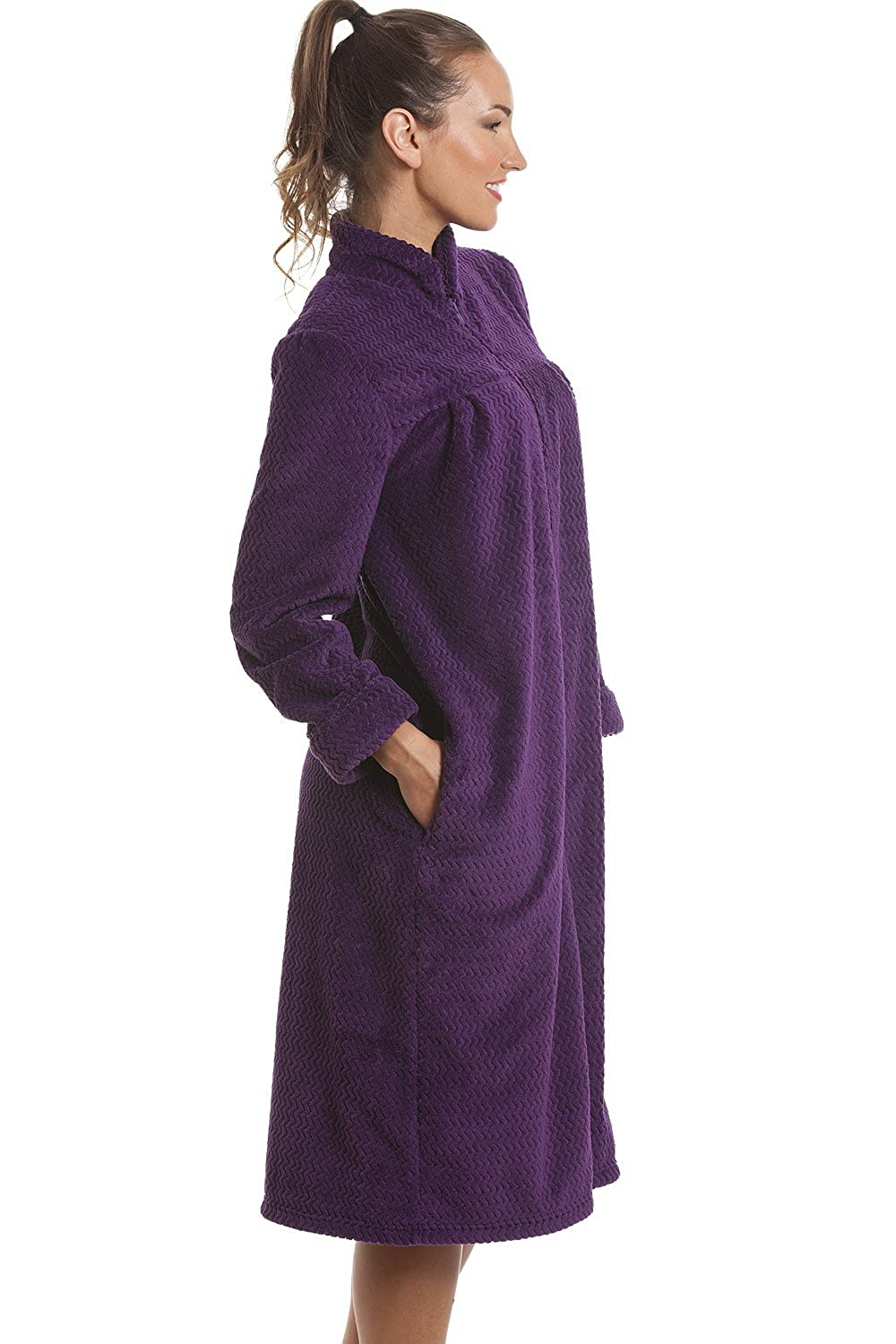 Camille Soft Fleece Purple Zip Front House Coat Dressing Gown ...
