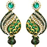 Suratdiamonds Traditional Drop Shaped Green & White Stone & Gold Plated Chandbali Earrings For Women (Pse66)
