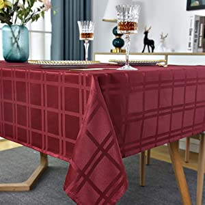 """Rectangle Tablecloth Checkered Style Polyester Table Cloth Spillproof Wrinkle Resistant Shrinkproof Heavy Weight Table Cover Kitchen Dinning Tabletop(Rectangle/Oblong, 52"""" x 70"""" (4-6 Seats), Red)"""