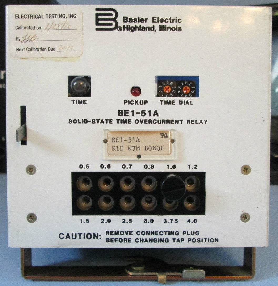 Basler Electric BE1-51A Solid-State Time Overcurrent Relay K1E W7M B0N0F BONOF
