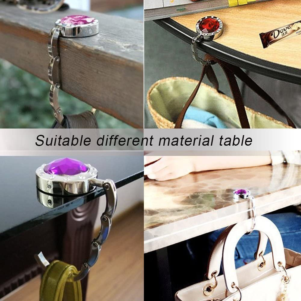 YANIC Purse Hook for Table Black Texas Stars Portable Bag Hanger Handbags Clips for Women Holder Storage Folding Desk Organizer Storage