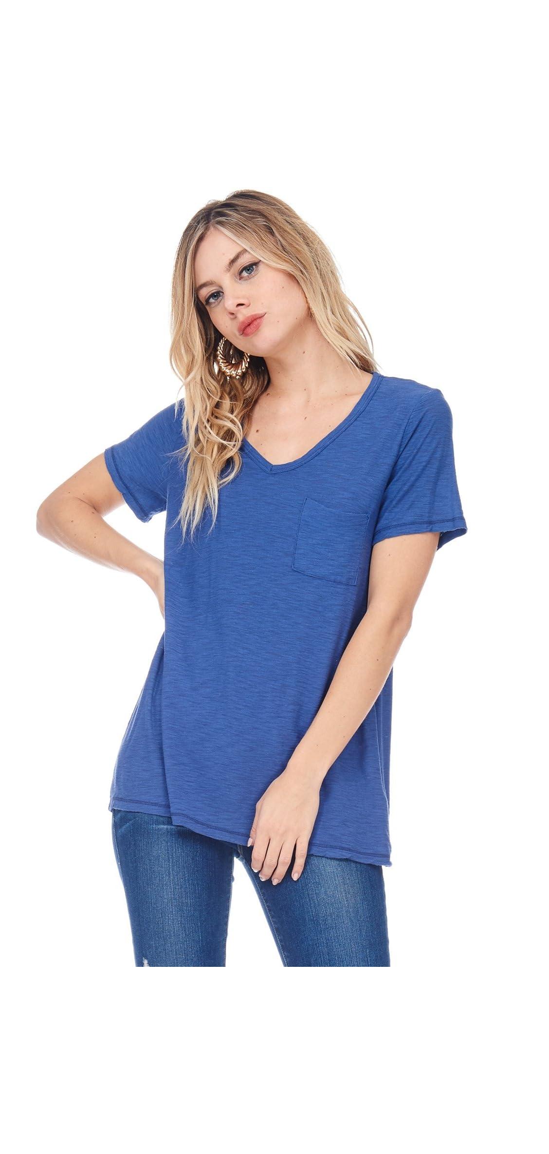 Ad Womens Casual Slub Burnout Sexy V-nk T-shirt Top W/pocket