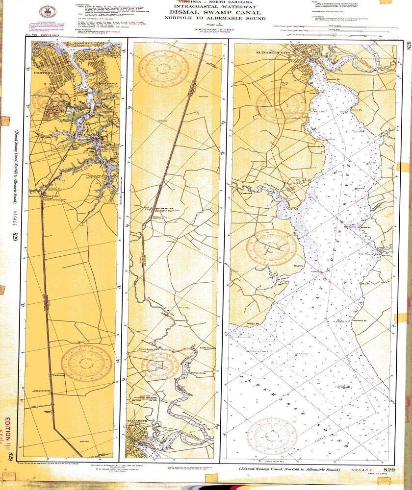 Amazon.com: Vintography Reprinted 8 x 12 Nautical Map of ...