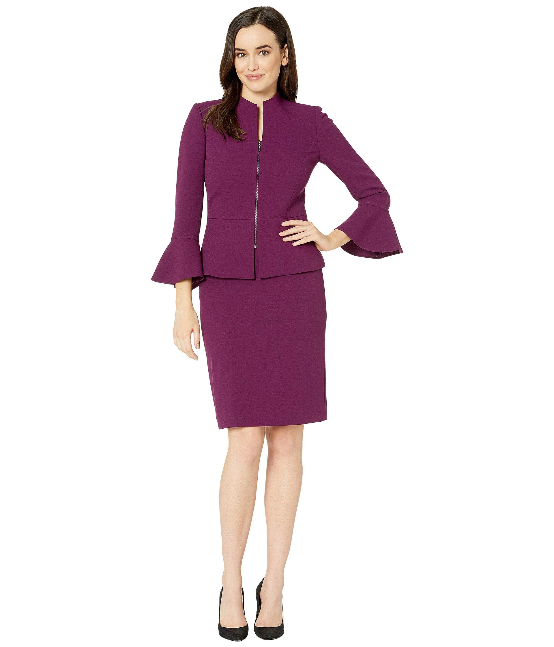 Tahari by ASL Women's Skirt Suit with Collarless Jacket Mulberry 14