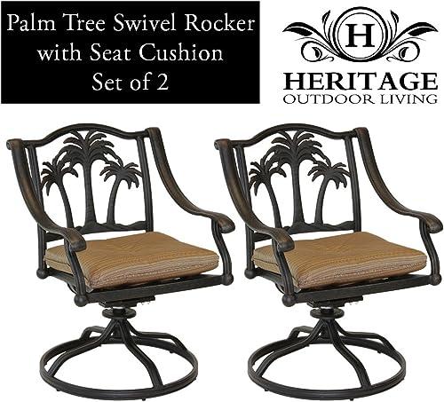Heritage Outdoor Living Palm Tree Cast Aluminum Swivel Rocker – Set of 2 – Antique Bronze