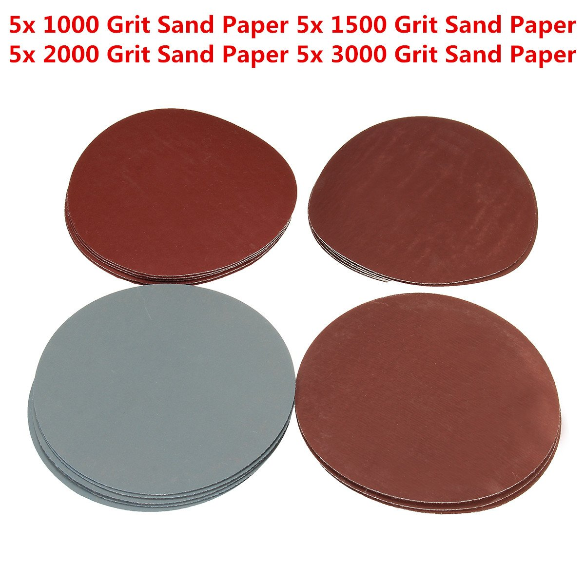 TOPWA 20PCS 5 Grit1000 1500 2000 3000 Assorted Orbital Sander Sanding Discs Hook Loop Round Sand Paper Tool