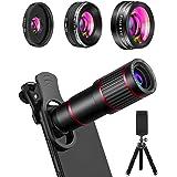 MACTREM Phone Camera Lens Phone Lens Kit 4 in 1, 20X Telephoto Lens, 205° Fisheye Lens, 0.5X Wide Angle Lens & 25X Macro Lens