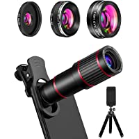 MACTREM Phone Camera Lens Phone Lens Kit 4 in 1, 20X Telephoto Lens, 205° Fisheye Lens, 0.5X Wide Angle Lens & 25X Macro…