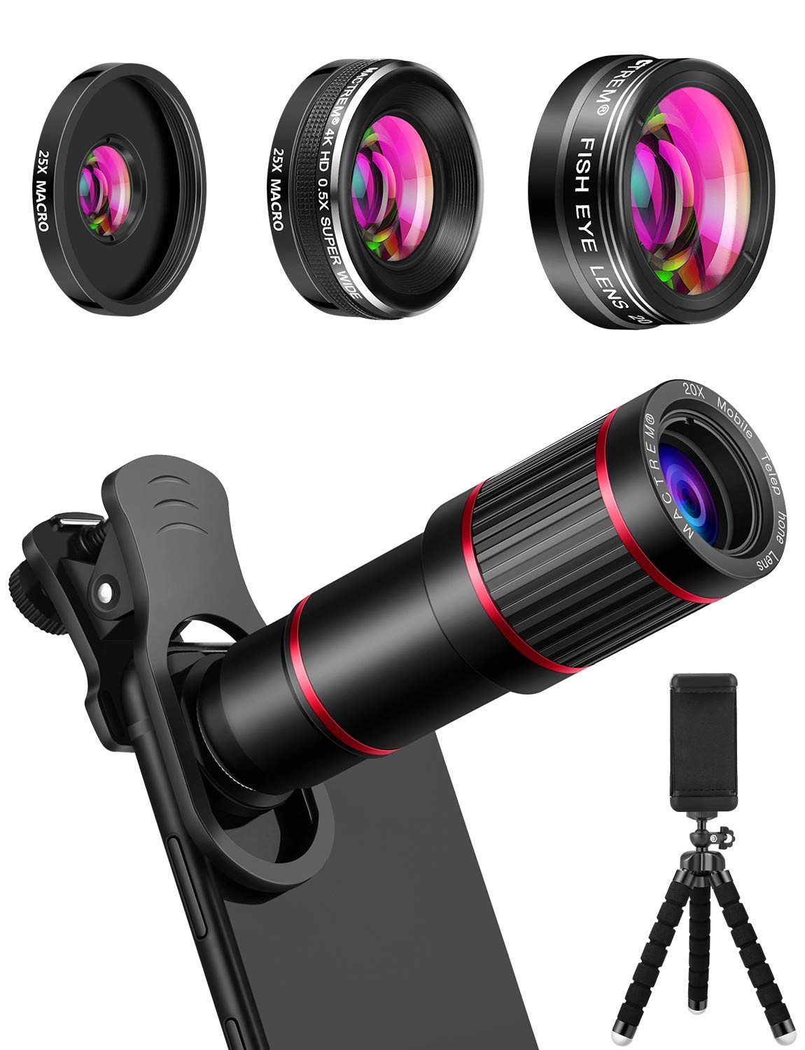 MACTREM Phone Camera Lens Phone Lens Kit 4 in 1, 20X Telephoto Lens, 205° Fisheye Lens, 0.5X Wide Angle Lens & 25X Macro Lens(Screwed Together), Compatible with iPhone 8 7 6 6s Plus X XS XR Samsung