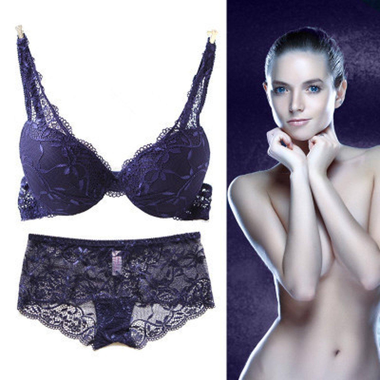 fd72acac930c1 Amazon.com  Women A B C Cup Push Up Bra Set Sexy V -Neck Plunge Lace Bra +  Briefs lace bra