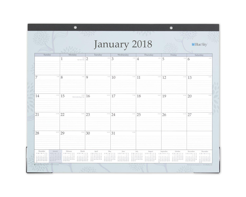 Blue Sky 2018 Monthly Desk Pad Calendar, 22'' x 17'', Rue Du Flore