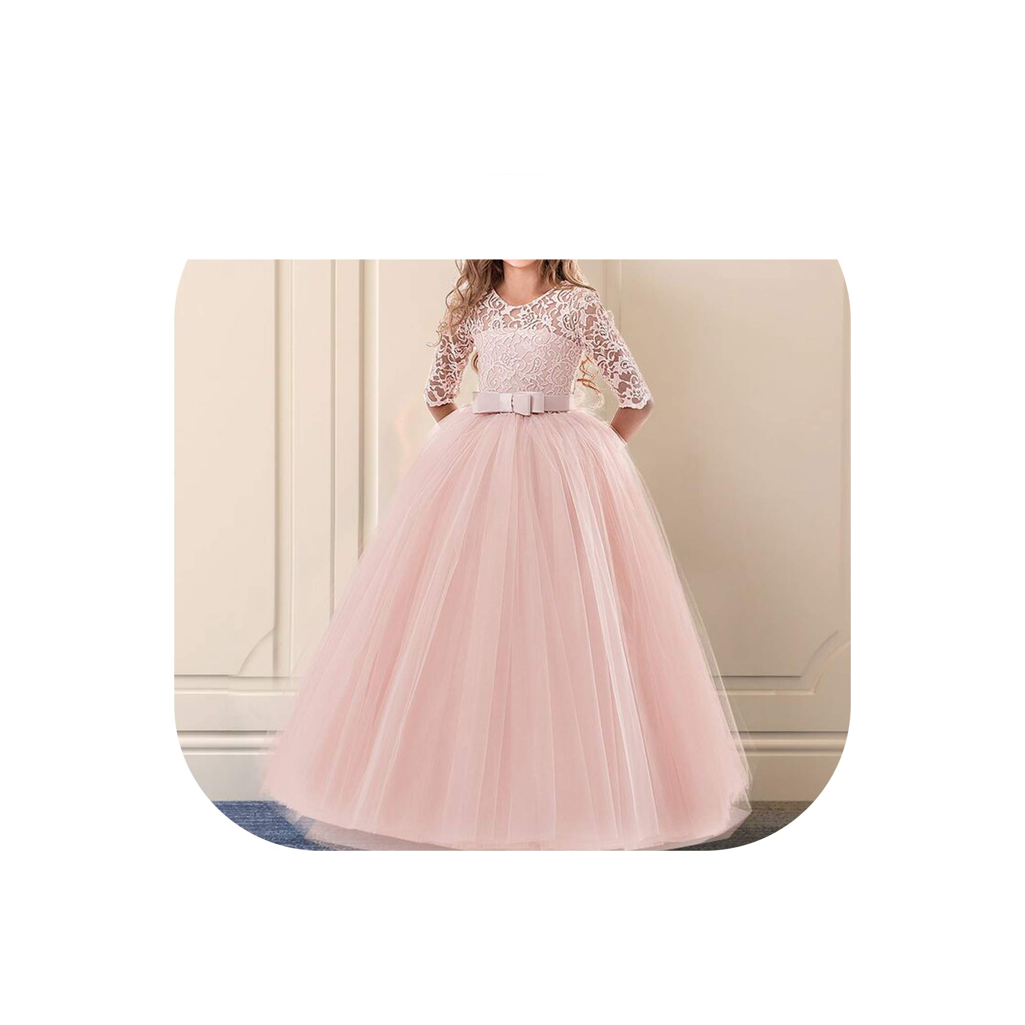 Girls Dress for Exquisite Pink Long Lace Tulle Wedding Dresses Teens Kids Graduation Costume Girl Childrens Clothing,Pink 1,11