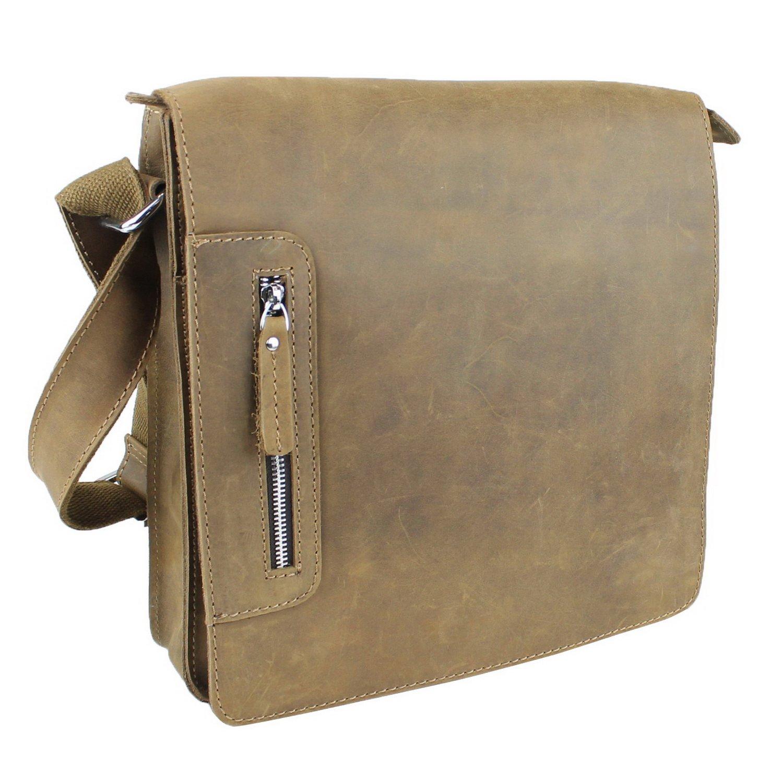 Vintage Full Grain Leather Cowhide Leather Messenger Bag LM14 Distress