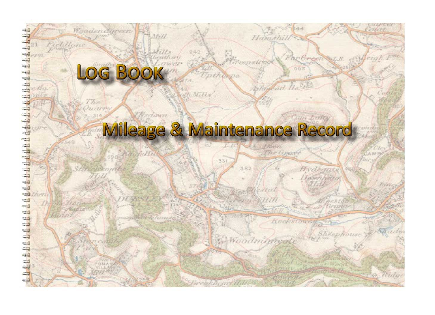 vehicle mileage log book map print effect cover a5 8 by 6