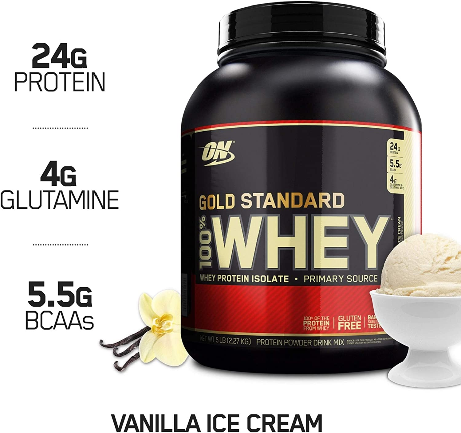 OPTIMUM NUTRITION GOLD STANDARD 100 Whey Protein Powder, Vanilla Ice Cream, 5 Pound