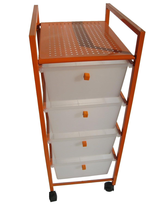Cajonera plastico-metal 4 cajones naranja: Amazon.es: Hogar