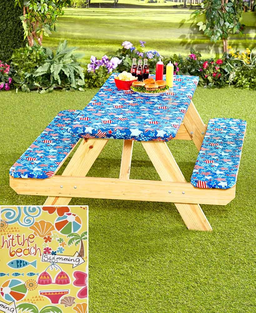 The Lakeside Collection 3-Pc. Picnic Table Cover Sets- Beach