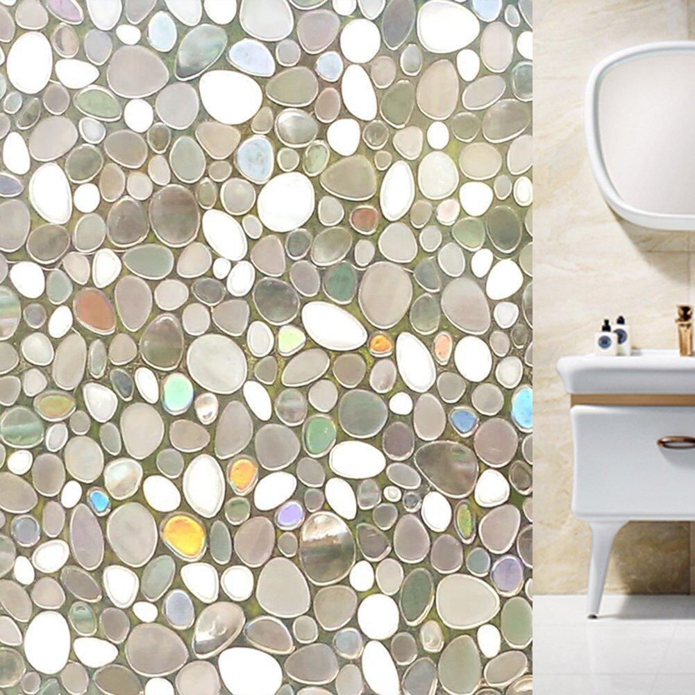 Wen wen Home 3D Window Films- No Glue Static Cobble stone Pattern glass Decorative,Anti UV.17.7in. By 78.7in.(45x200CM)